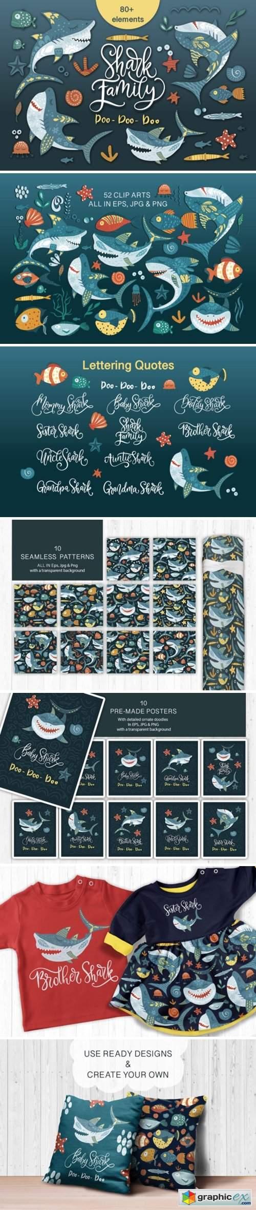 Shark Family. Do Do Do Graphic Set