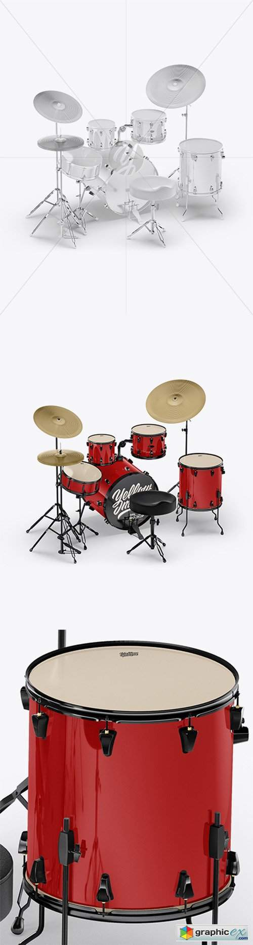 Drum Kit Mockup - Back Half Side View (High-Angle Shot)