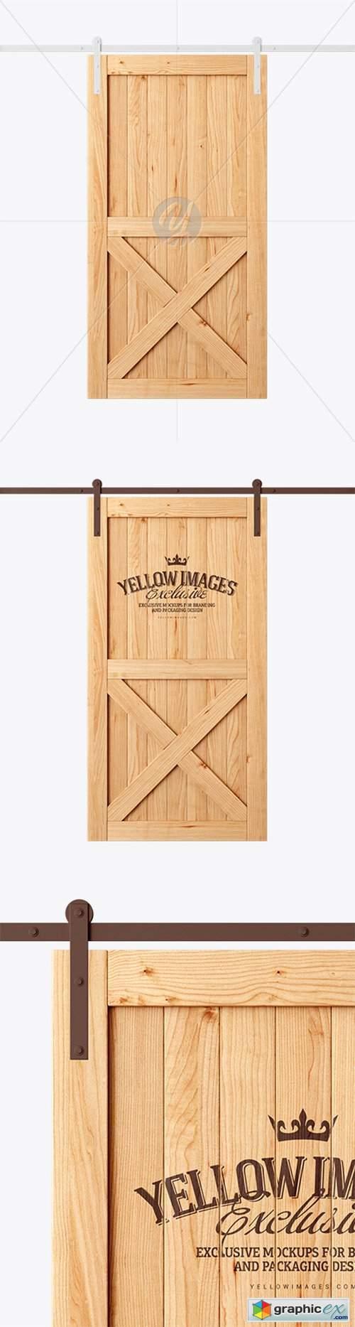 Vintage Wooden Barn Door Mockup