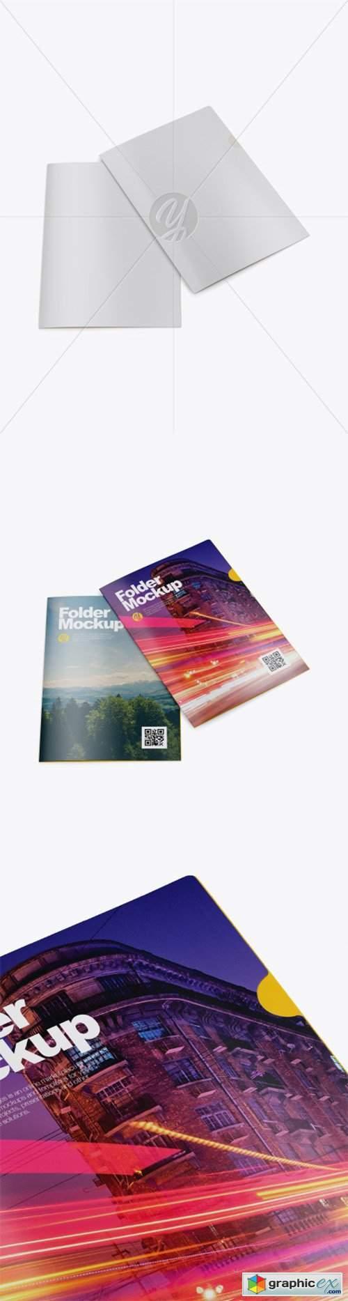 Two Folders Mockup - High-Angle Shot