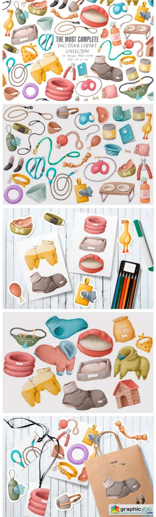 Dog Items Clipart Collection