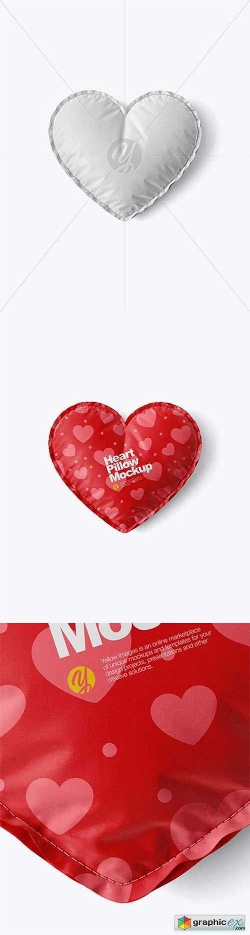 Heart Pillow Mockup - Top View