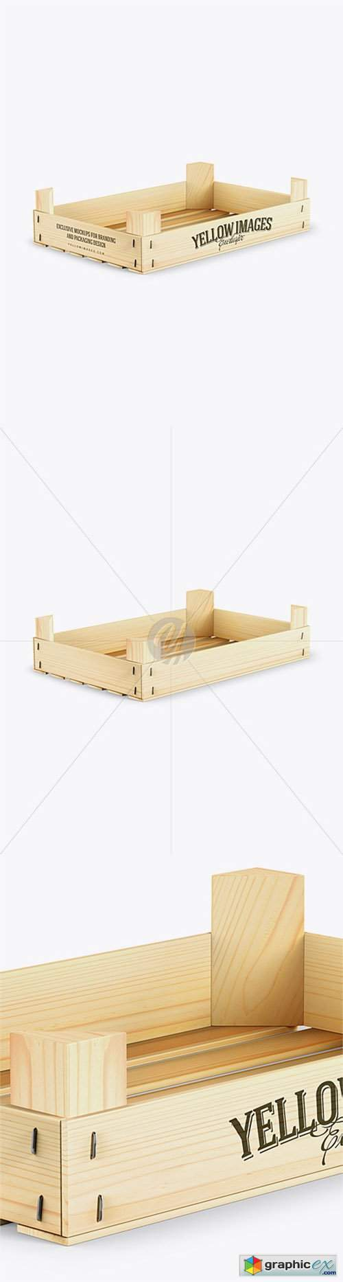 Empty Wooden Crate Mockup - Half Side View (High-Angle Shot)