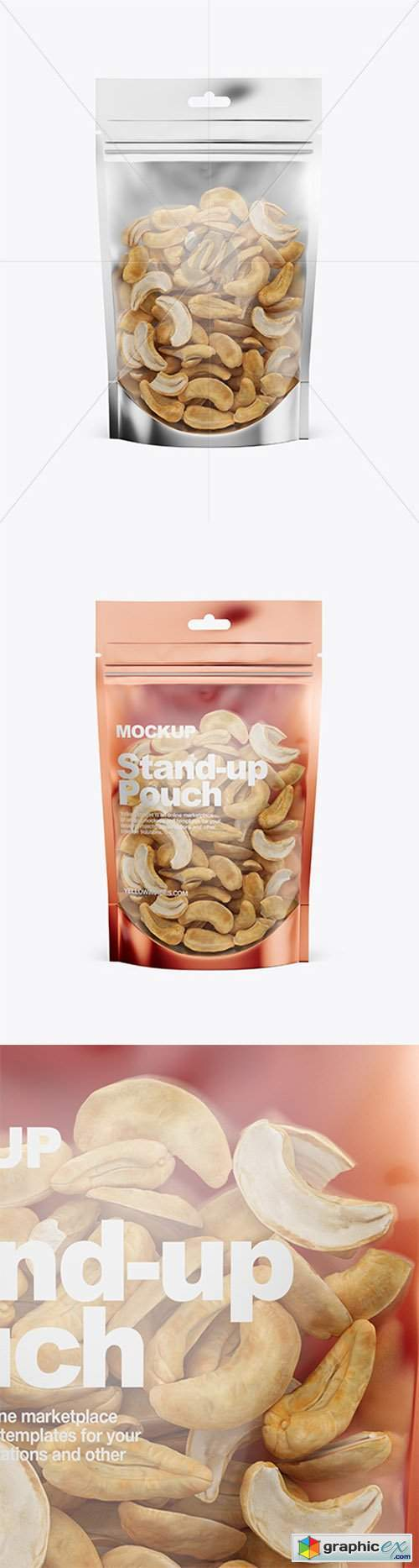 Glossy Transparent Stand-Up Pouch W/ Cashew Nuts Mockup - Front View