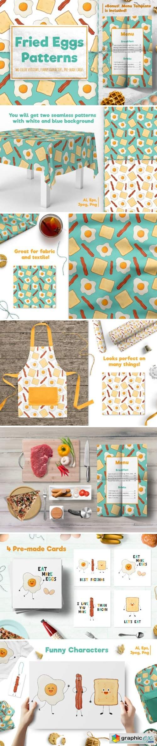 Fried Eggs Patterns and Prints