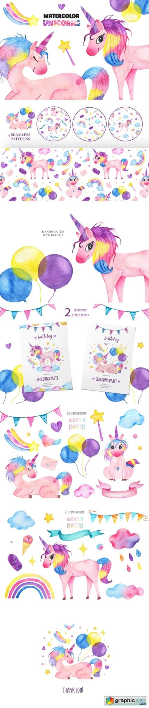 Cute Watercolor Unicorns Collection