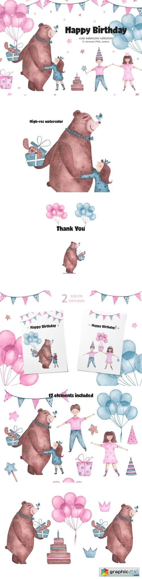 Happy Birthday - Watercolor Clipart