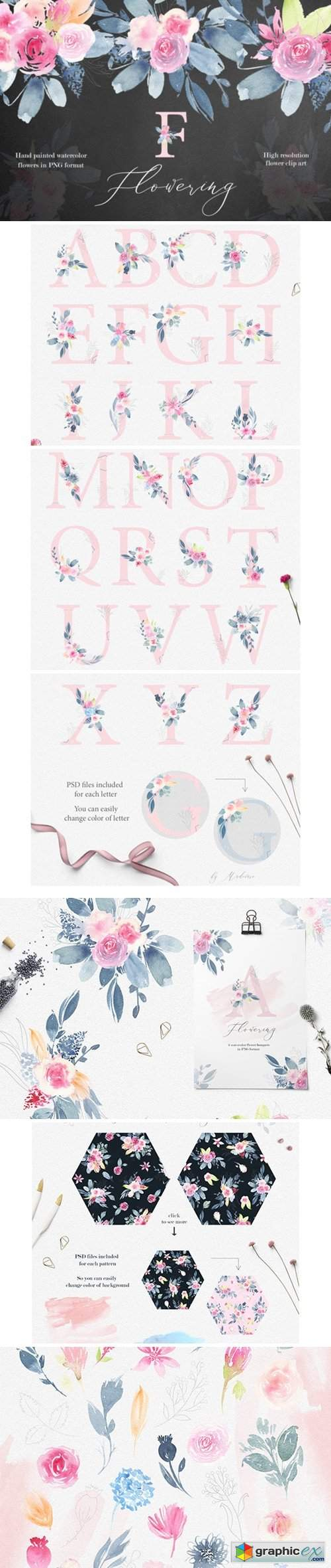 Flowering Watercolor Graphic Set