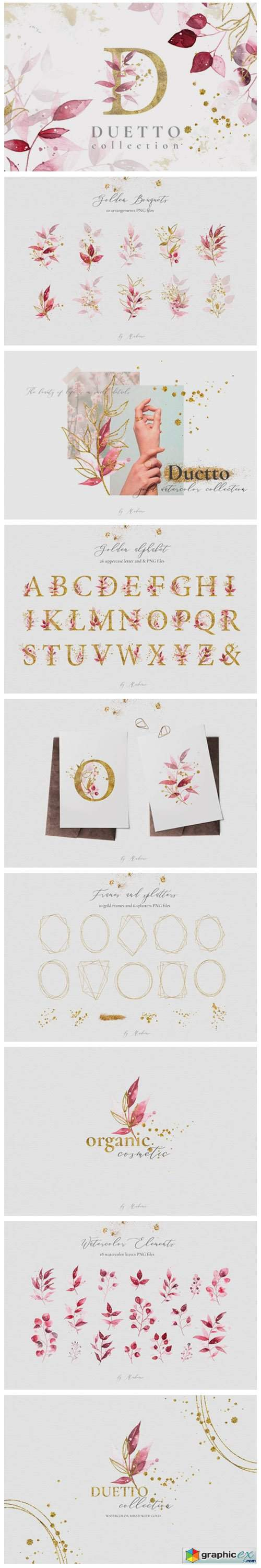 Duetto - Gold Watercolor Leaf Set
