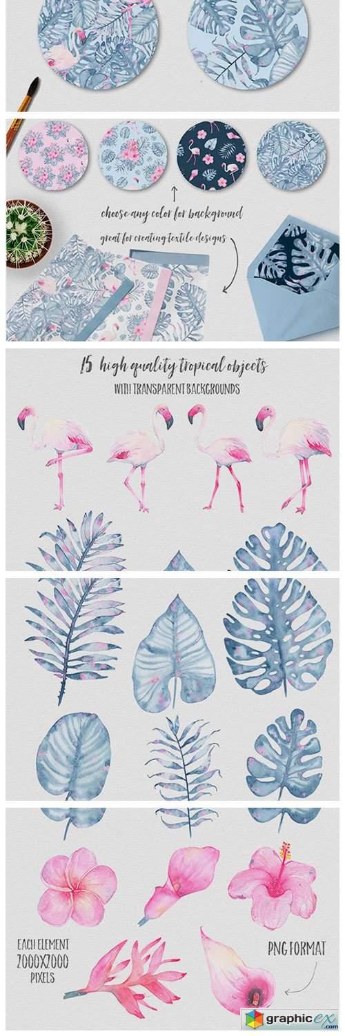 Tropical Watercolor Clip Art