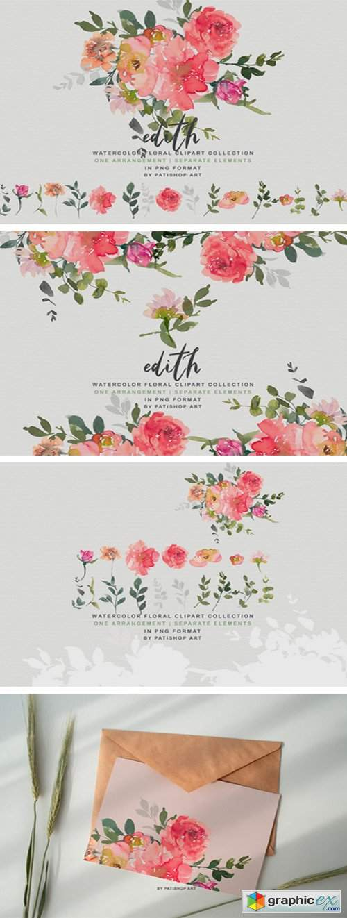 Blush Red Watercolor Peony Clipart Set