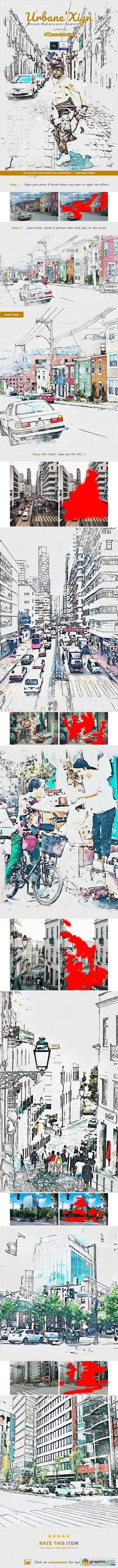UrbaneXign - Mixed Watercolor Sketch PS Action
