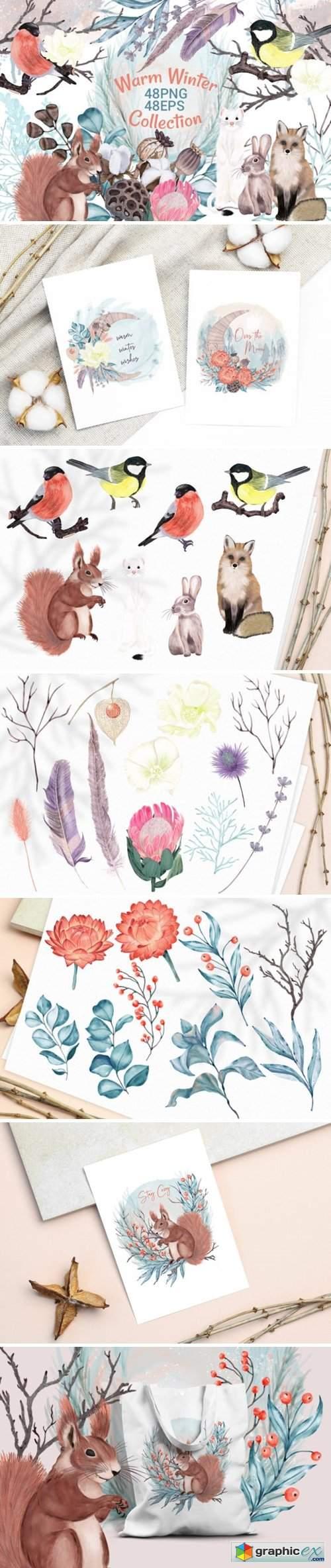 Winter Flowers, Animals, Birds Forest