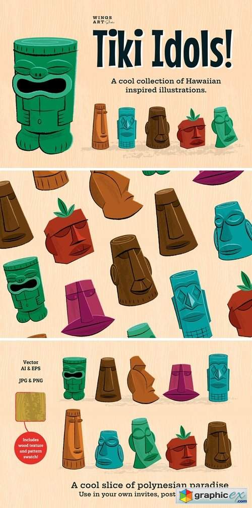 Tiki Idol Vector Illustrations