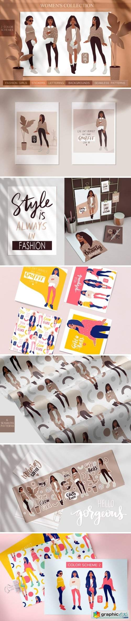 Women, Girls Fashion Illustration