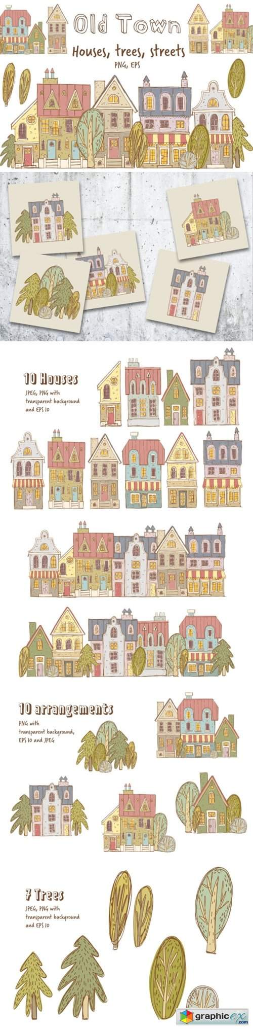 Old Town Clipart Collection