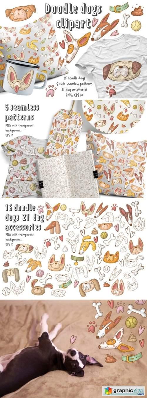 Doodle Dogs Clipart Set