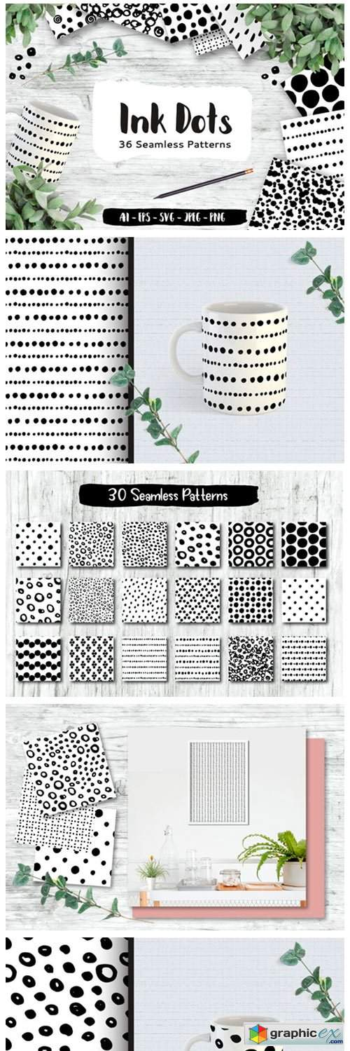 Ink Dots Seamless Patterns