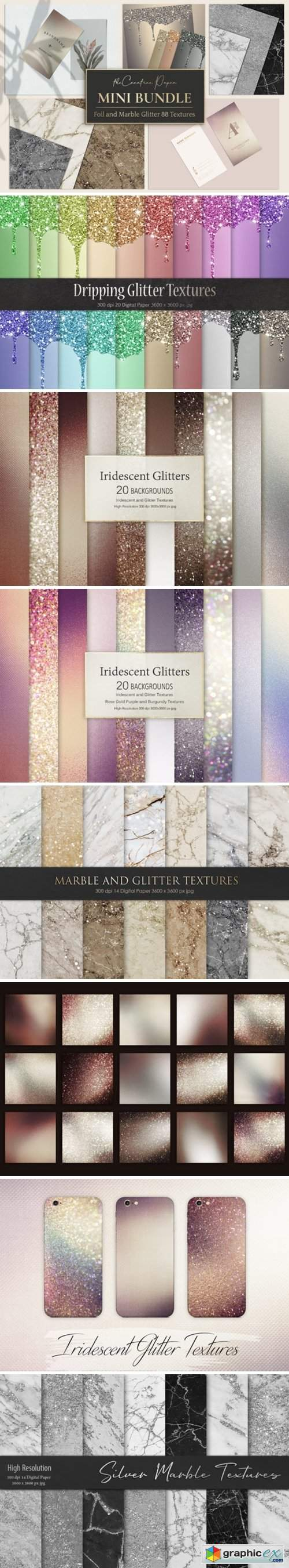 Rose Gold Foil & Marble Glitter Textures