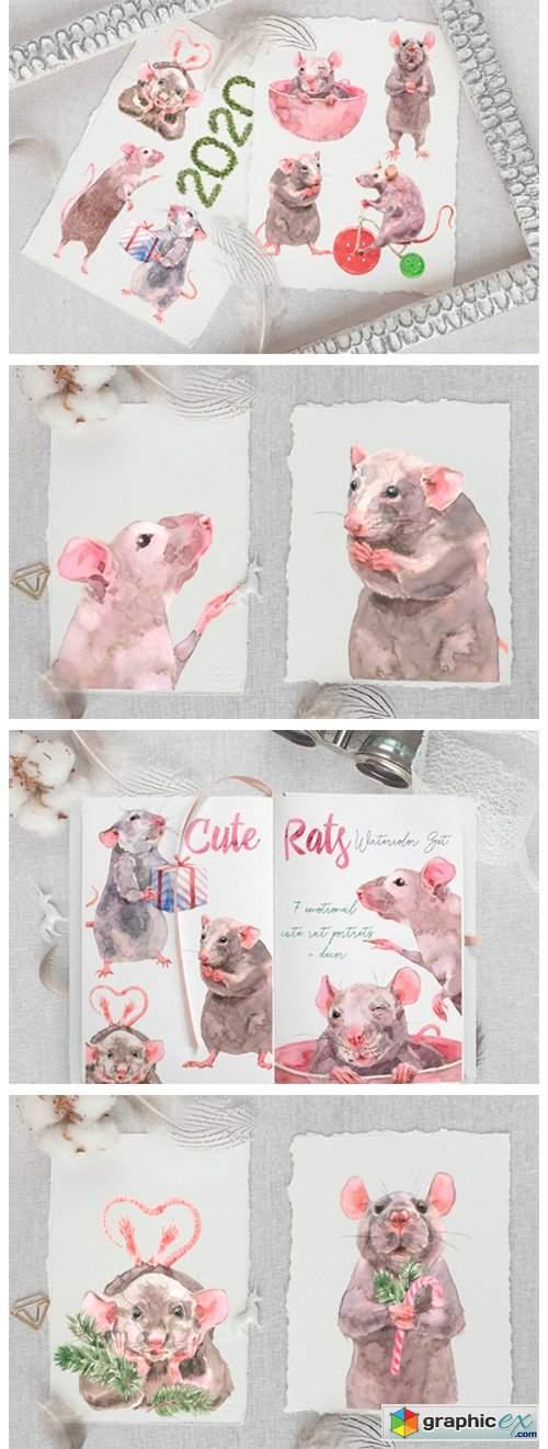 Cute Rats Watercolor Set