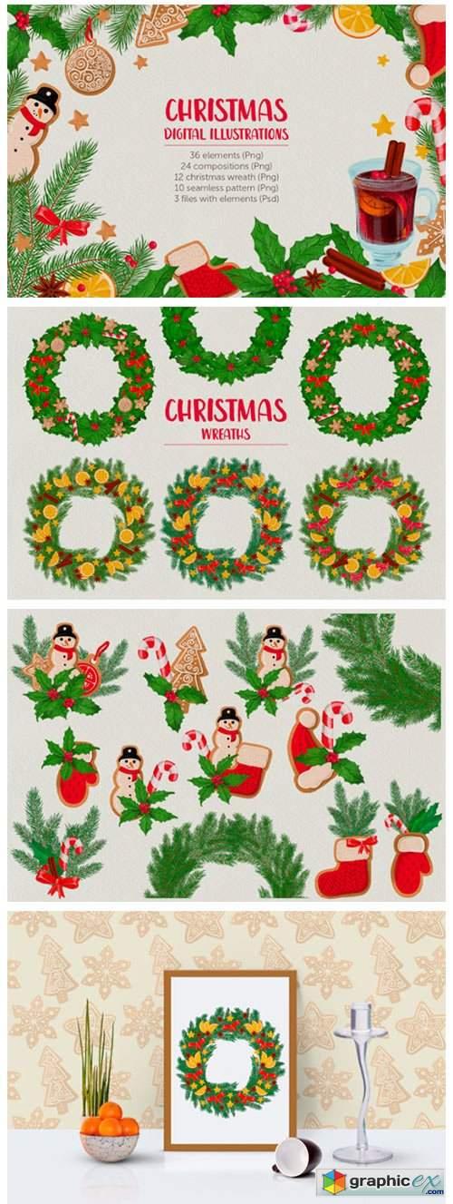 Christmas Digital Illustration Set