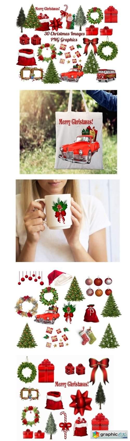 30 Christmas Clip Art Images PNG Bundle