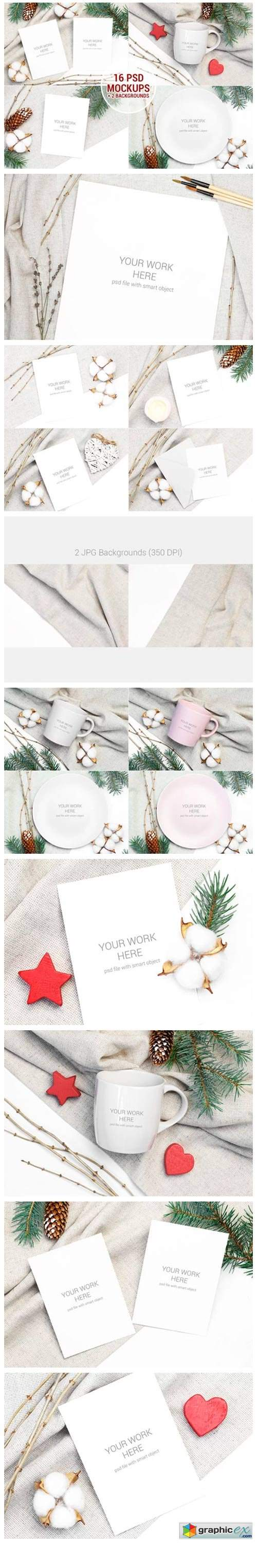 Christmas Mockups Pack with Smart Object