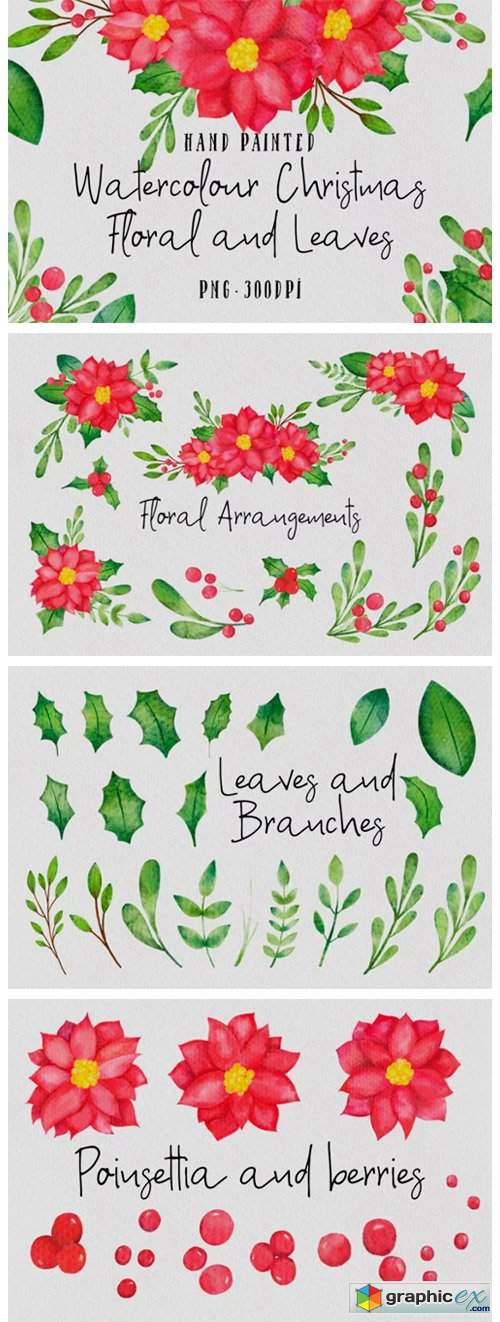 Christmas Watercolor Floral Set