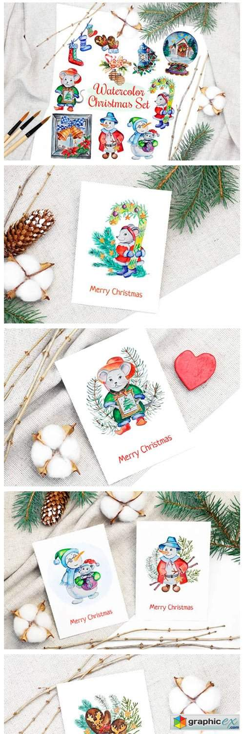 Christmas Watercolor Characters Set