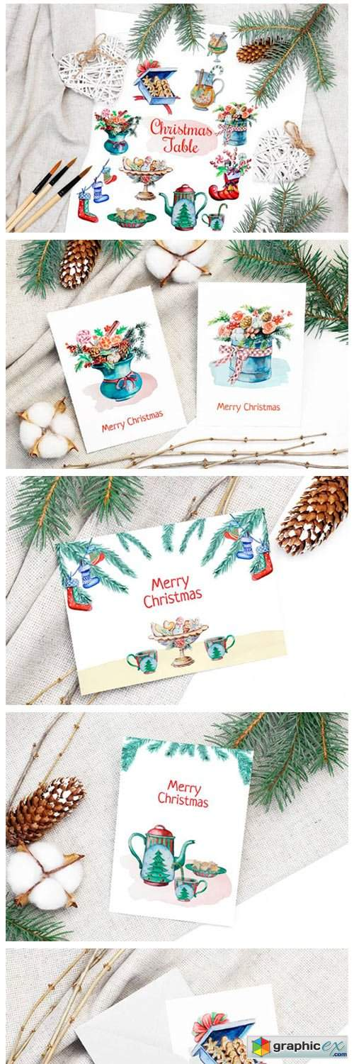 Christmas Watercolor Food Decoration