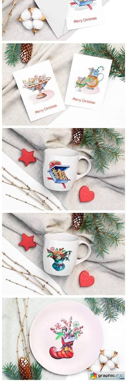 Christmas Watercolor Food Decoration