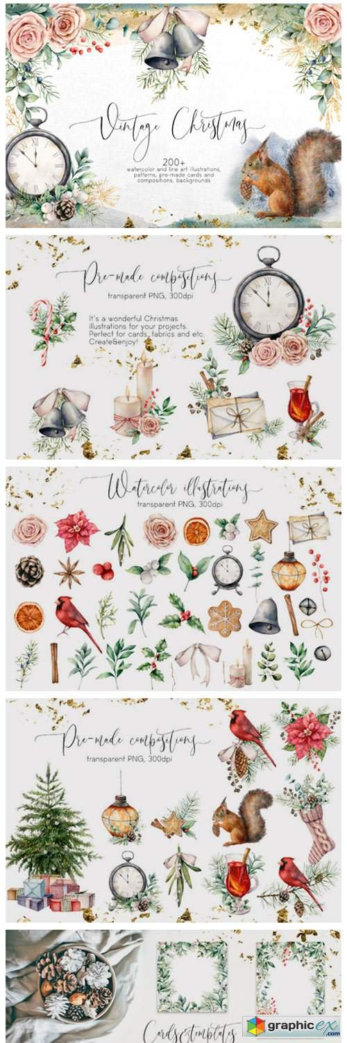 Vintage Christmas. Graphic Collection
