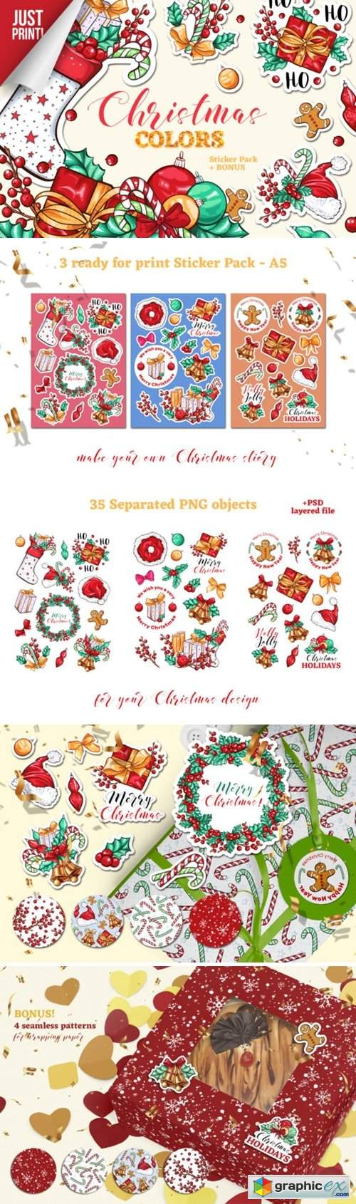 Christmas Colors Vector Sticker Pack