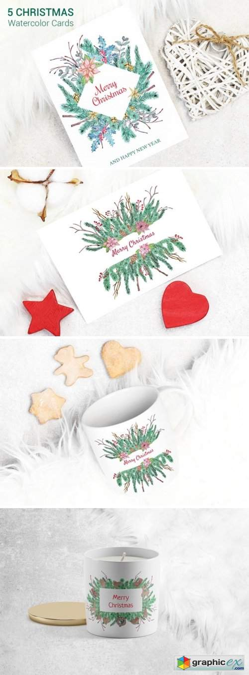 Greeting Christmas Cards Set
