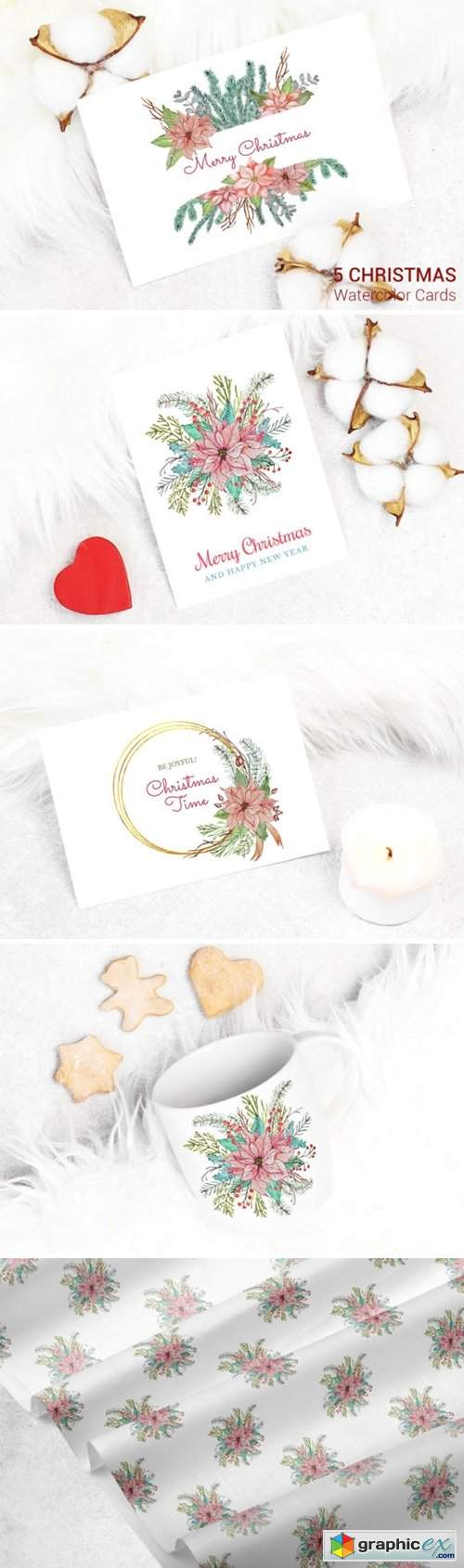 5 Christmas Cards. Watercolor Decoration