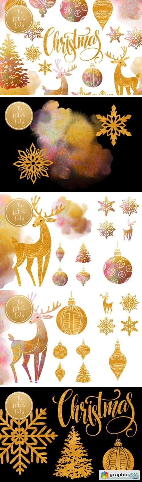 Christmas Ornaments Clipart Set