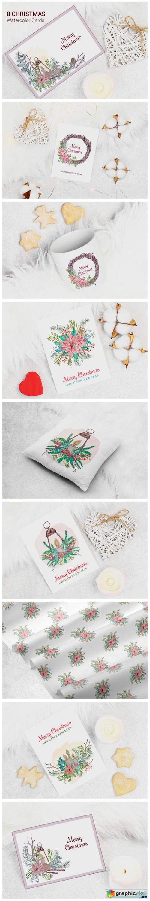 Merry Christmas Watercolor Greeting Card