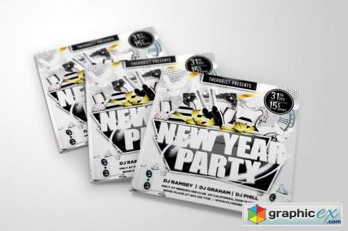 White New Year Party Flyer