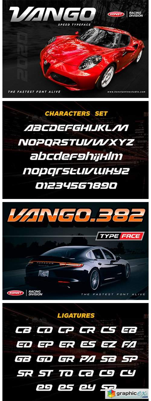 VANGO - Automotive Speed Font