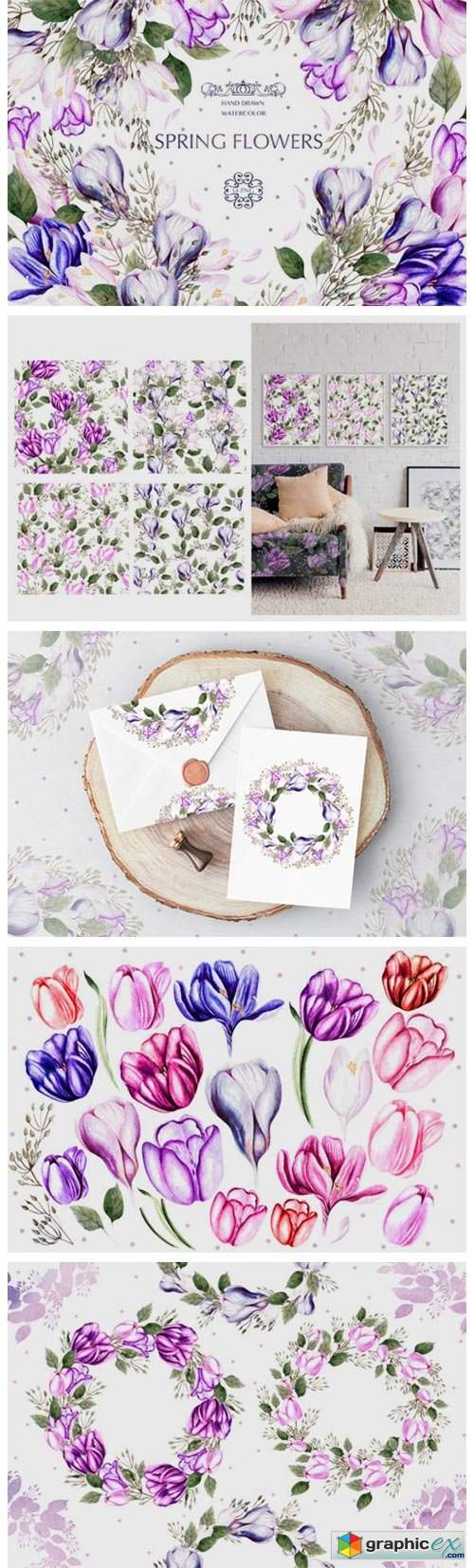 Watercolor Spring Tulips & Crocus