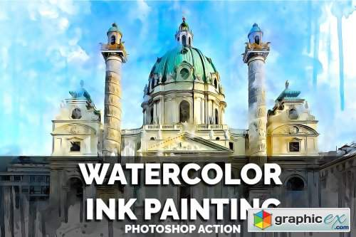 Watercolor Ink Painting PS Action