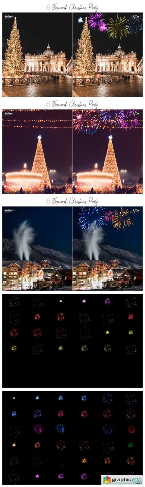 60 Firework Christmas Party Overlays