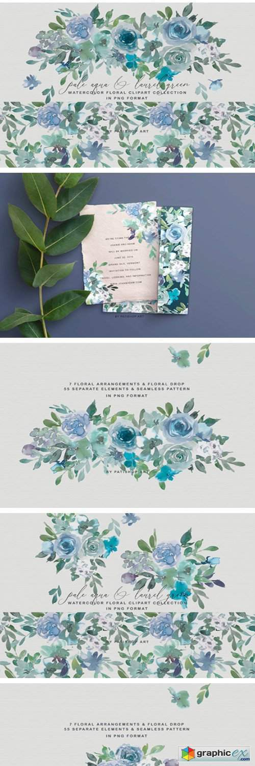 Pale Aqua & Laurel Green Floral Clipart