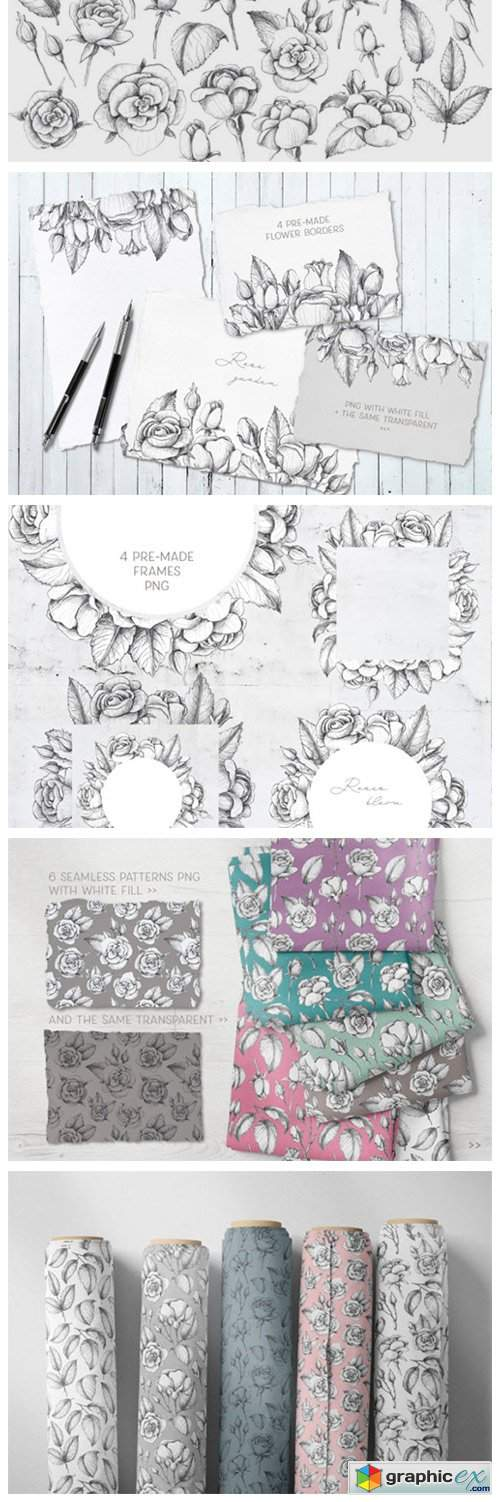 Sketched Roses Patterns Frames