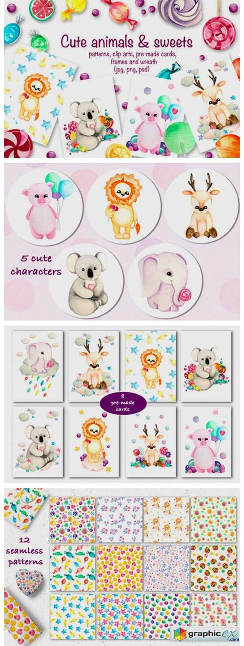 Cute Animals & Sweets Collection
