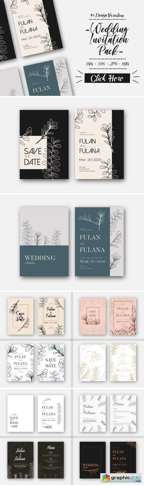 Floral Wedding Invitation Card Pack