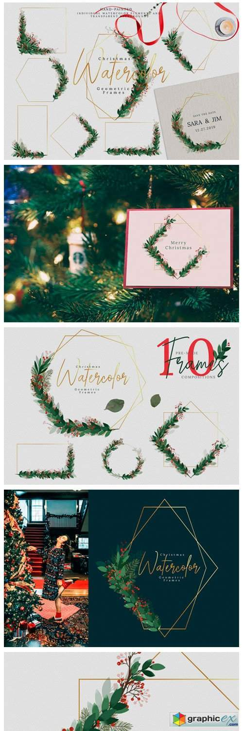 Christmas Watercolor Geometric Frames