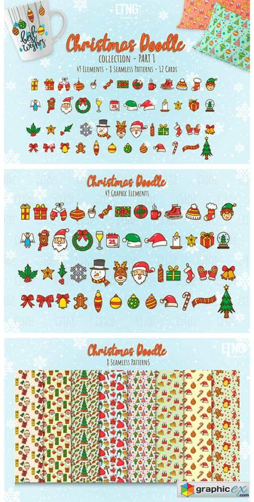 Christmas Doodle Graphic Element Part