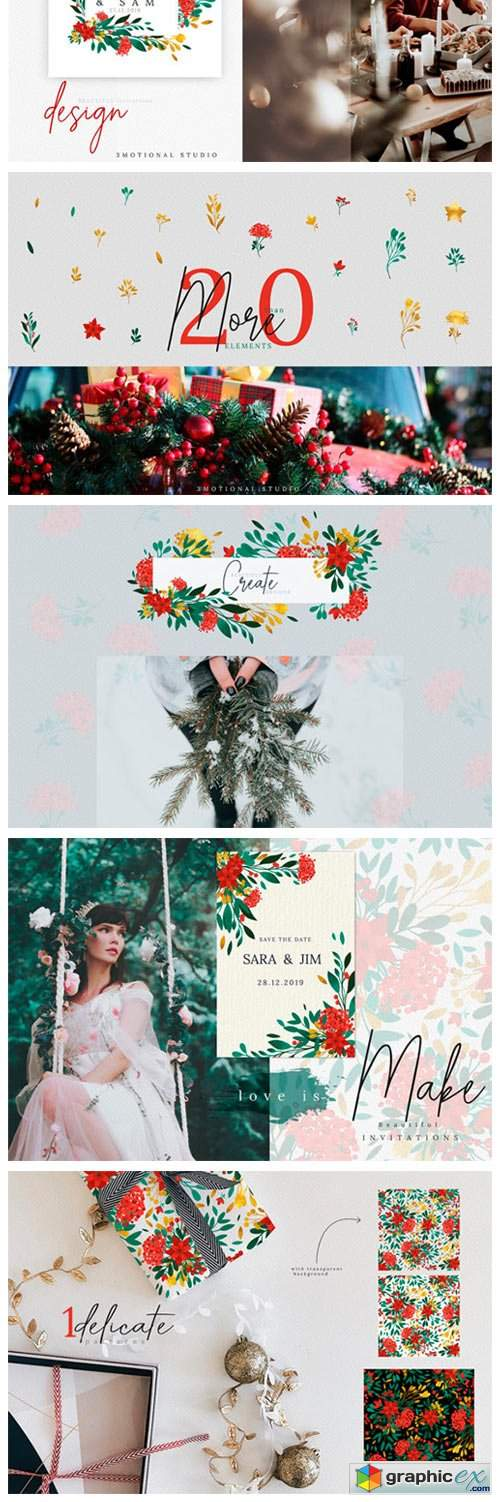 Christmas Watercolor Flowers Cliparts