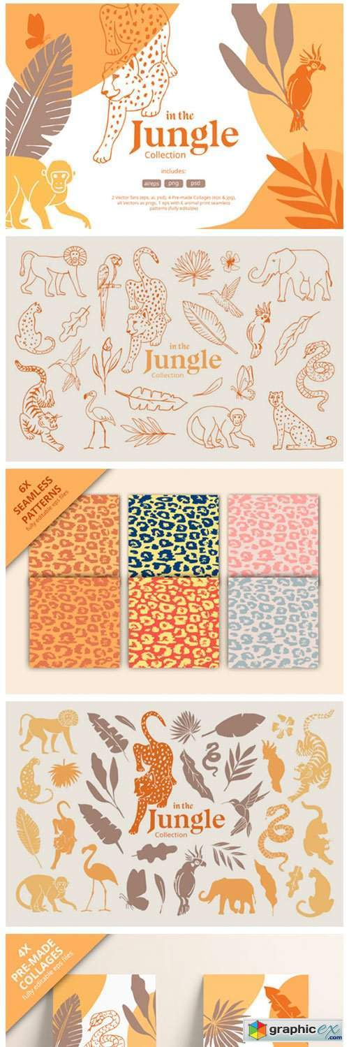 Hand Drawn Jungle Animals Illustrations
